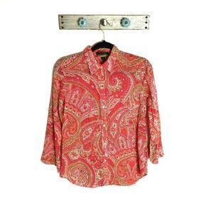 Ralph Lauren M Orange Paisley Button Front Shirt